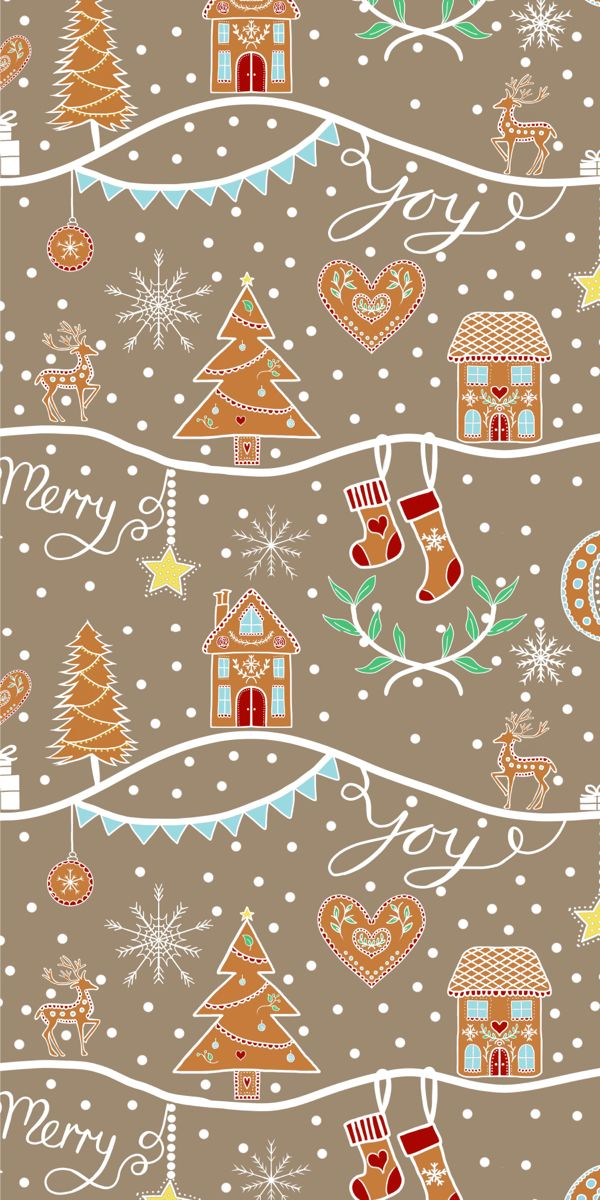 Colorful Fabrics Digitally Printed By Spoonflower Gingerbread Winter Scene Christmas Phone Wallpaper Wallpaper Iphone Christmas Xmas Wallpaper Christmas wallpaper for phone