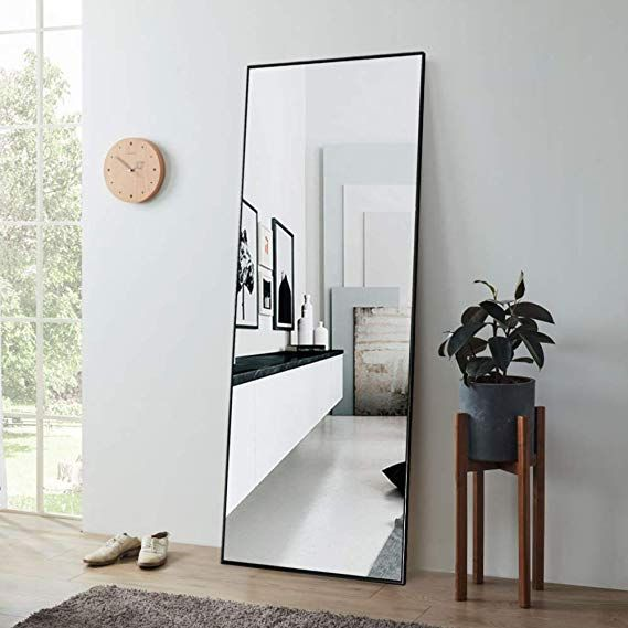Linsgroup Full Length Mirror Floor Standing Mirror For Bedroom 65 X22 Black Floor Standing Mirror Bedroom Mirror Standing Mirror