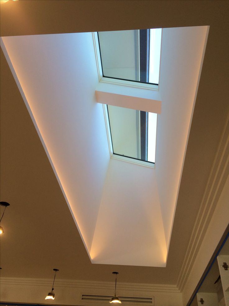 skylight and light well with led strips hidden along the two long edges looks like soft light. Black Bedroom Furniture Sets. Home Design Ideas