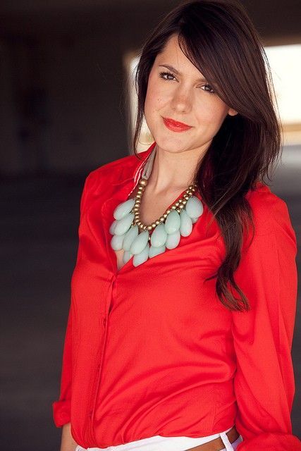 bright red with light teal: Colors Combos, Statement Necklaces, Style, Shirts, Mint Coral, Colors Combinations, Red Lips, Red Blouses, Chunky Necklaces