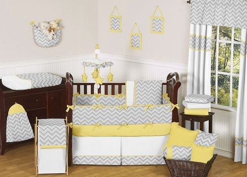 Gray and Yellow Zig Zag Baby Bedding - 9pc Crib Set by JoJO Designs - Click to enlarge
