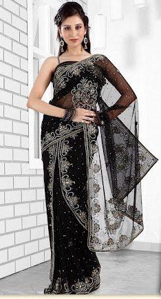 Black Color Net Lehenga Style Saree. Sale : $269.80