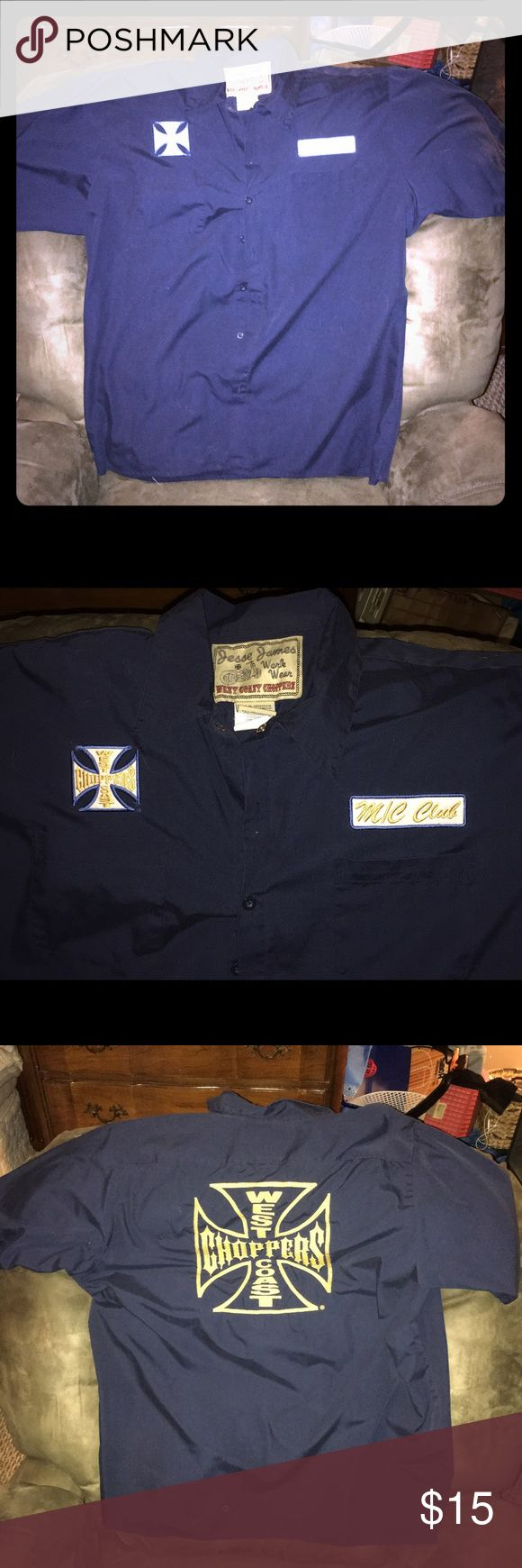 """Vintage West Coast Choppers Work shirt Super Vintage. Worn once if I can remember ever wearing it when the West Coast Choppers """"Craze"""" hit the market. No rips, holes, or Stains. Comes from a pet free and smoke free environment. Shirts Casual Button Down Shirts"""