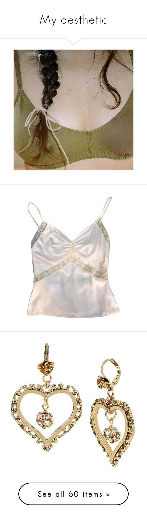 """""""My aesthetic"""" by die-kunstlerin ❤ liked on Polyvore featuring tops, tank tops, flat top, white spaghetti strap tank top, white top, silk tank tops, silk tank, jewelry, earrings and accessories"""