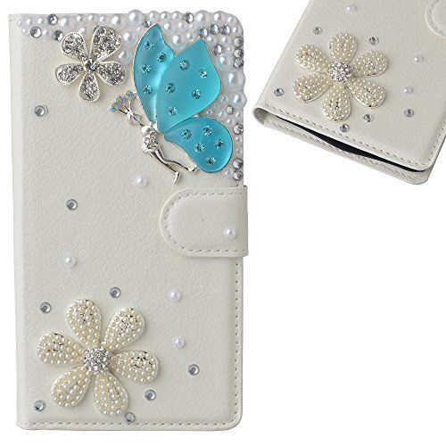 For LG K10 White PU Leather Folio Flip Phone Case,Yaheeda 3D Handcraft White Gems Flower Blue Angel Accessory Phone Cover With Card Holder
