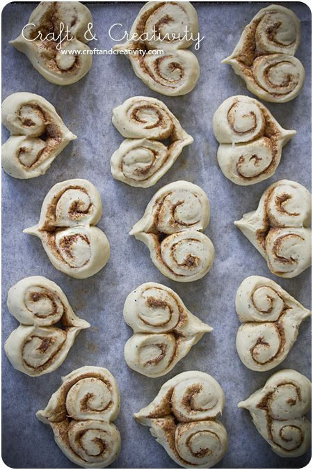 heart-shaped cinnamon rolls for valentine's day...