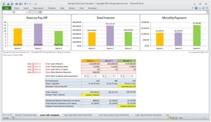 Mortgage Calculator Excel Mortgage Loan Calculator Compare Monthly Payments In Mortgage Loan Calculator Mortgage Amortization Calculator Mortgage Amortization