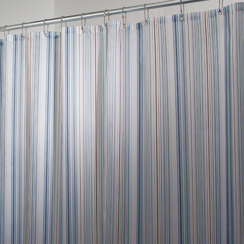 The Blue Essex Stripe Fabric Shower Curtain Adds