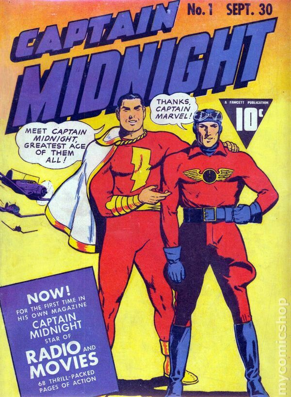 Captain Midnight and Captain Marvel Golden Age Comic Book Cover!