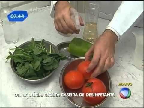 Dr. Bactéria ensina receita caseira de desinfetante - YouTube  LIMPAR VERDURA E TALZ