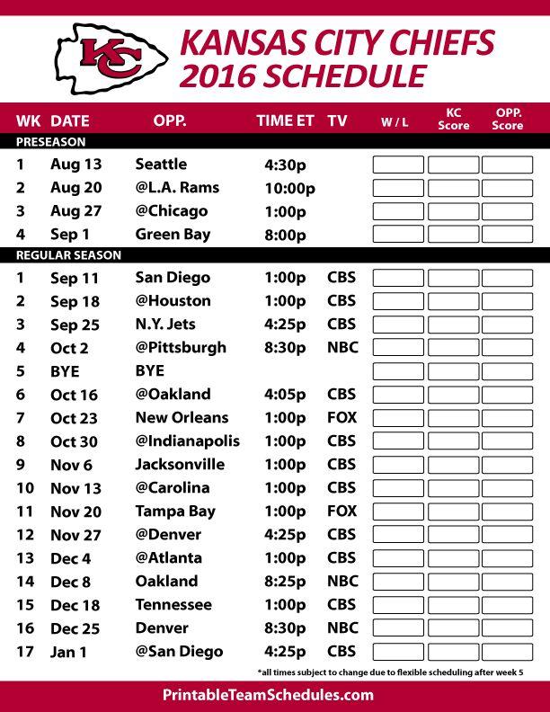 2016-17 Kansas City Chiefs Schedule