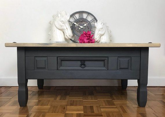 Fabulous Solid Wood Dark Grey Coffee Table Hand Painted In Grey Machost Co Dining Chair Design Ideas Machostcouk