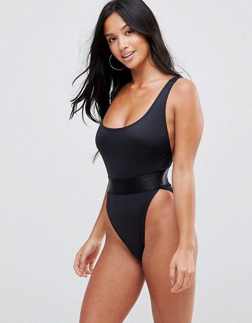9f0053058ec DESIGN Petite recycled high leg elastic waist swimsuit in 2019 | Hot ...