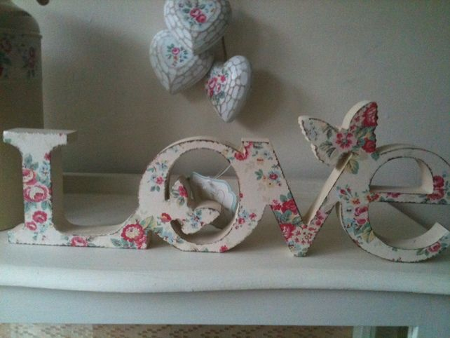"""Shabby Chic beauty - word """"Love"""" decoupaged with vintage flowers, distressed - butterflies added to the outline"""