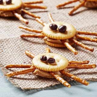 Spiders - ritz crackers, pretzel sticks, raisinets or yogurt covered raisins, and can substitute cream cheese for peanut butter.  The Hankful House: 15 awesome afterschool snacks for kids