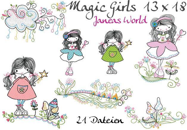 """Die Stickserie """"Magic Girls"""" ist perfekt um Kleidung, Kissen, Taschen.....zu verzieren. In dieser Serie für den 13 x 18 Rahmen sind 21 Stickdateien enthalten. Formate: DST, EXP, HUS, JEF,..."""