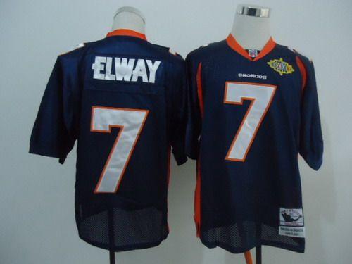 Denver Broncos #7 John Elway Blue Super Bowl Throwback Jersey