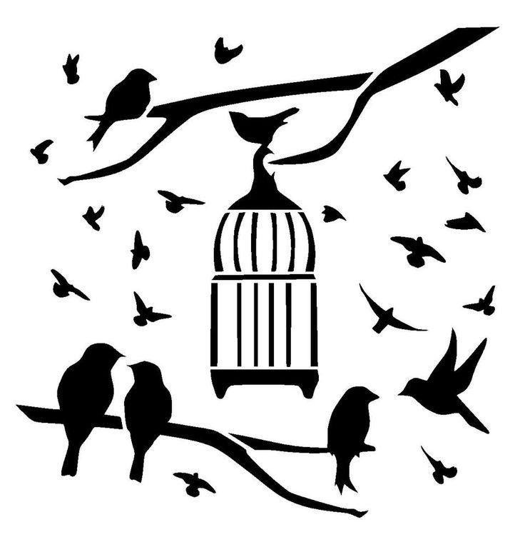 25 best steampunk stencils lovestencil ebay etsy images on birds outside bird cage stencil craftfabricglassfurniturewall art gumiabroncs Gallery
