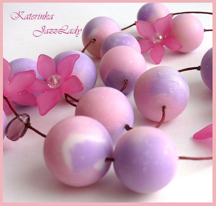 """Бусы """"Настроение - Весна!"""" - сиреневый,розовый,цветы,бусы,длинные бусы 1100 руб"""