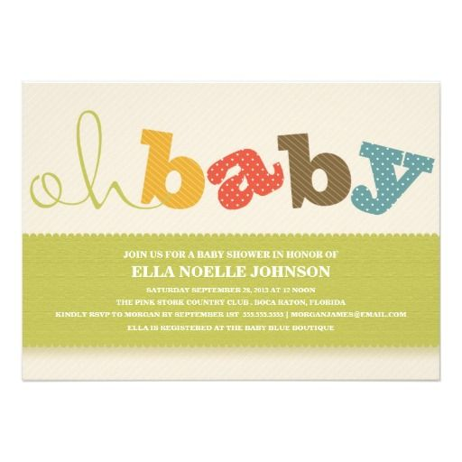 oh baby colorful baby shower invitation
