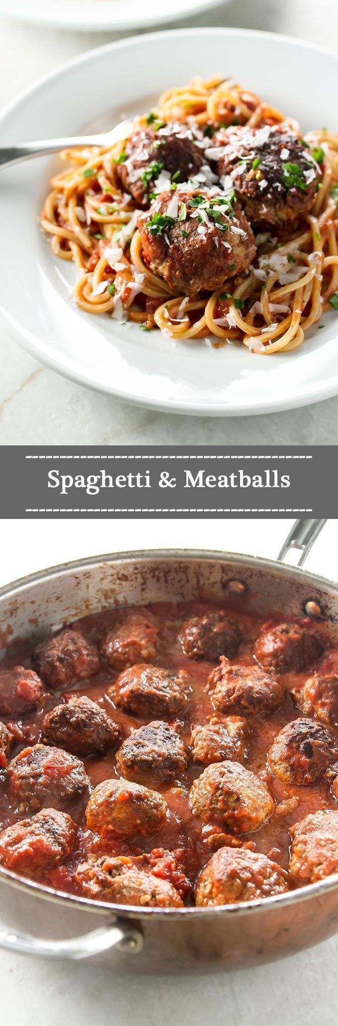 Tender meatballs in a super simple tomato sauce #pasta #meatballs #comfortfood
