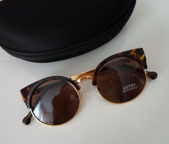 óculos de sol lente redonda com case - óculos lutou