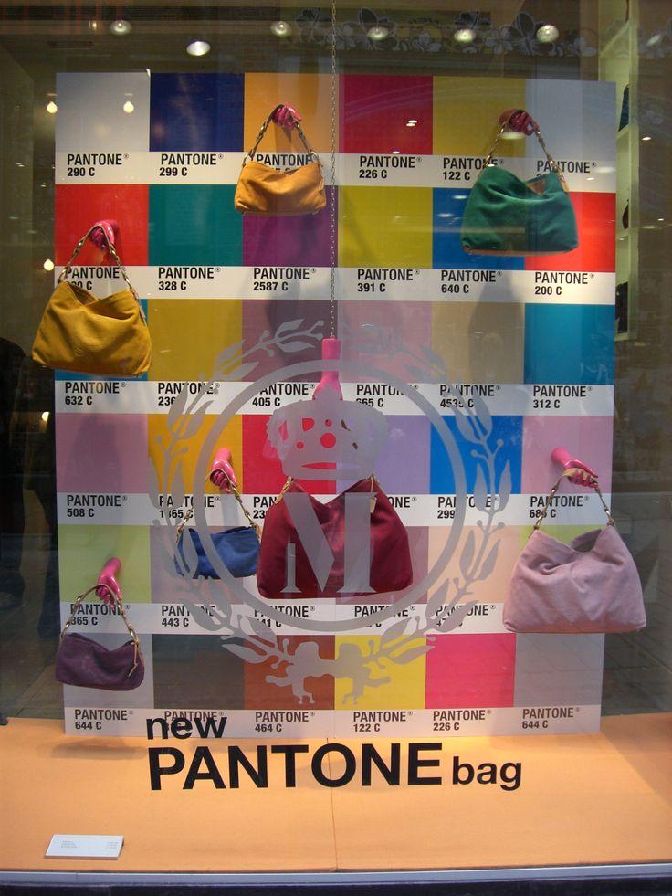 Window display for the new Pantone bags. #retail #merchandising #windowdisplay #Pantone