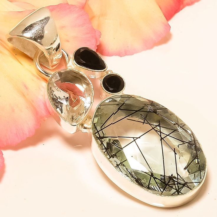 "Black Rutilated Quartz, Black Onyx 925 Sterling Silver Jewelry Pendant 2.29"" #Handmade #Pendant"