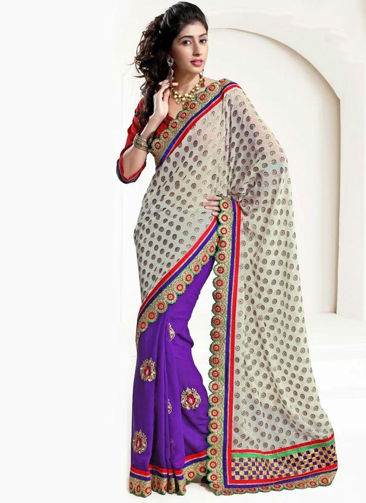 Earthy Off White And #Purple Half And Half #Saree
