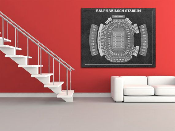 Vintage Print of Ralph Wilson Stadium Seating Chart by ClavinInc