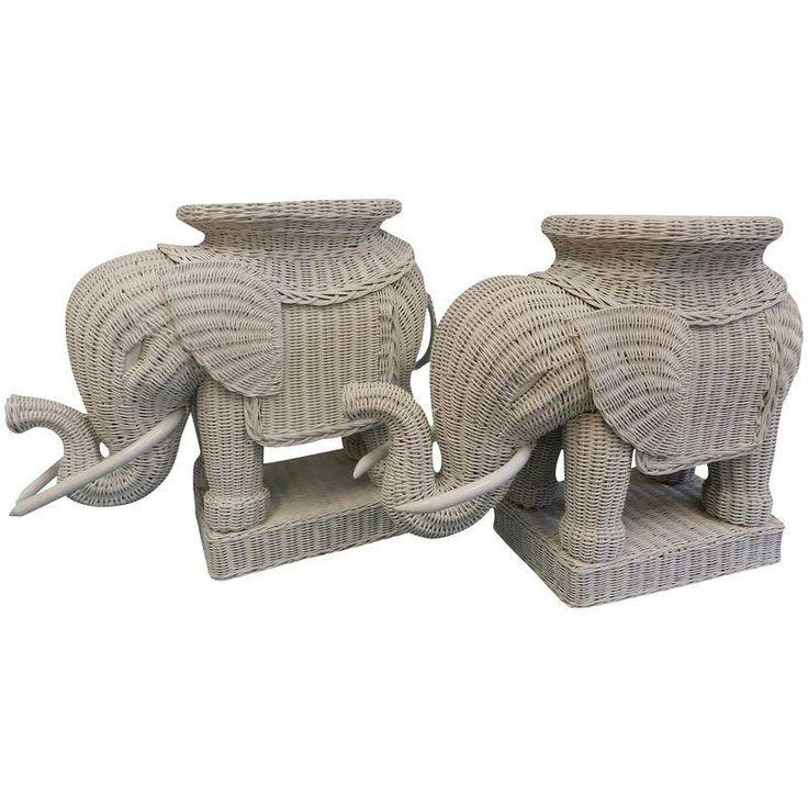 Vintage Wicker Elephant Garden Stools   A Pair