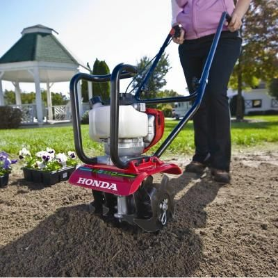 Honda 9 in. 25 cc 4-Cycle Middle Tine Forward-Rotating Gas Mini Tiller-Cultivator-FG110 at The Home Depot