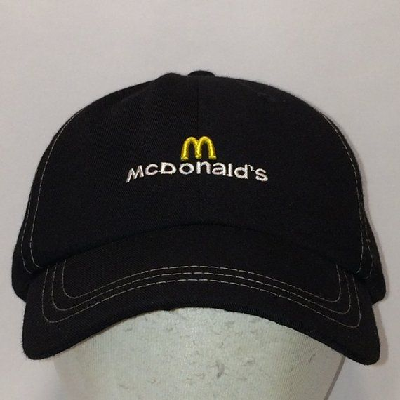 0e3c0caf65e McDonalds Employee Restaurant Hat Black White Gold Baseball Cap Hats For Men  T16 JL8079