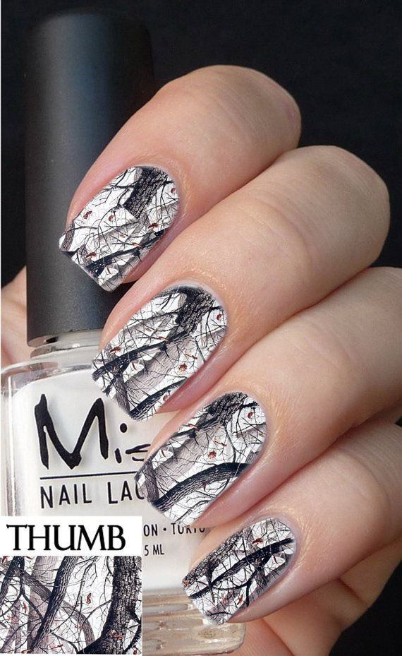 Snow Camo Nail Decals browning...I would do one nail on each hand like this with a solid color