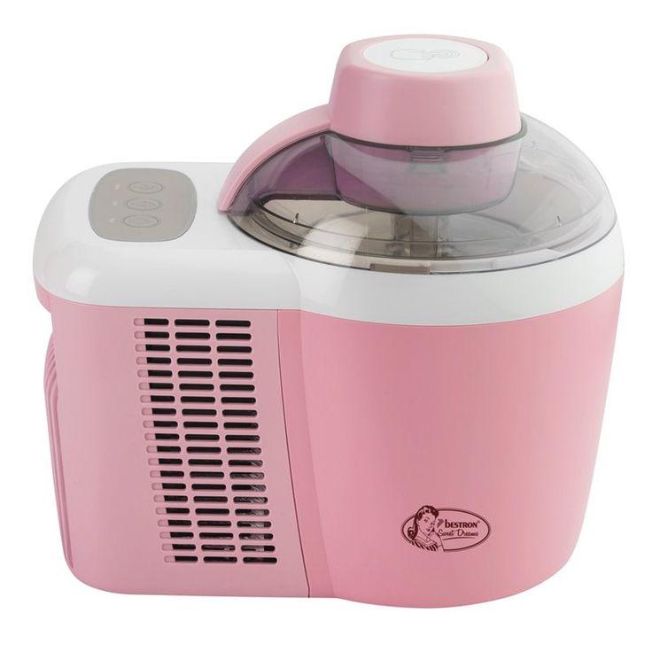 Bestron Ijsmachine roze (AIM700)  Maakt heerlijk vers sorbet- yoghurt- of schepijs  Geen voorvriezen nodig direct klaar voor gebruik door thermo-elektrische koeling  Drukschakelaar voor ijs en softijs  Krachtige motor garandeert gelijkmatig ijsmengsel  Geheel te demonteren voor eenvoudige reiniging  Inhoud ca. 05L  Aan-/uitschakelaar  Transparante deksel  Inclusief diverse ijsrecepten  EUR 153.95  Meer informatie