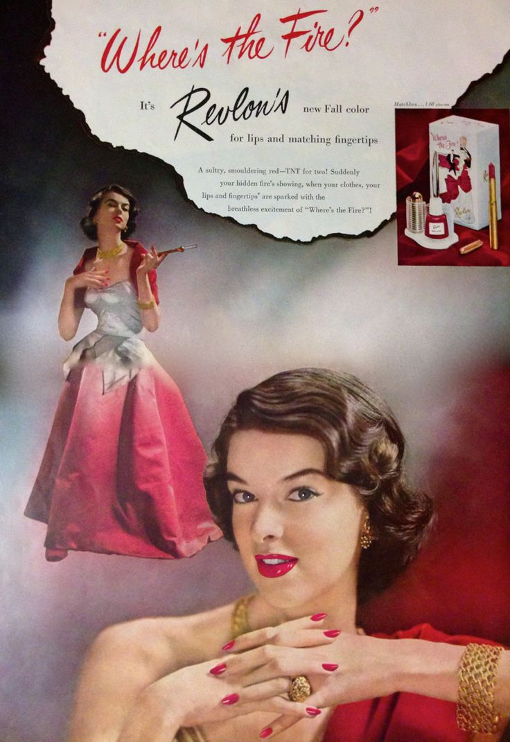 Revlon 'Where's the Fire' Lipstick & Nail Polish Set Ad, 1950