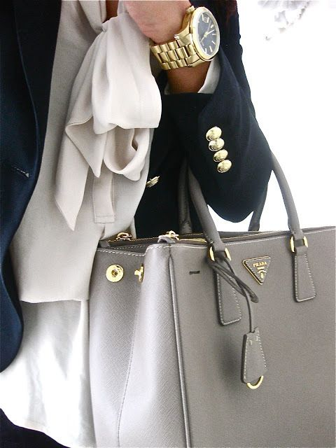love this look - great look for work! perfect color prada bag, navy blazer, bow blouse Blazer - Gold Button detailing + Prada Saffiano Tote