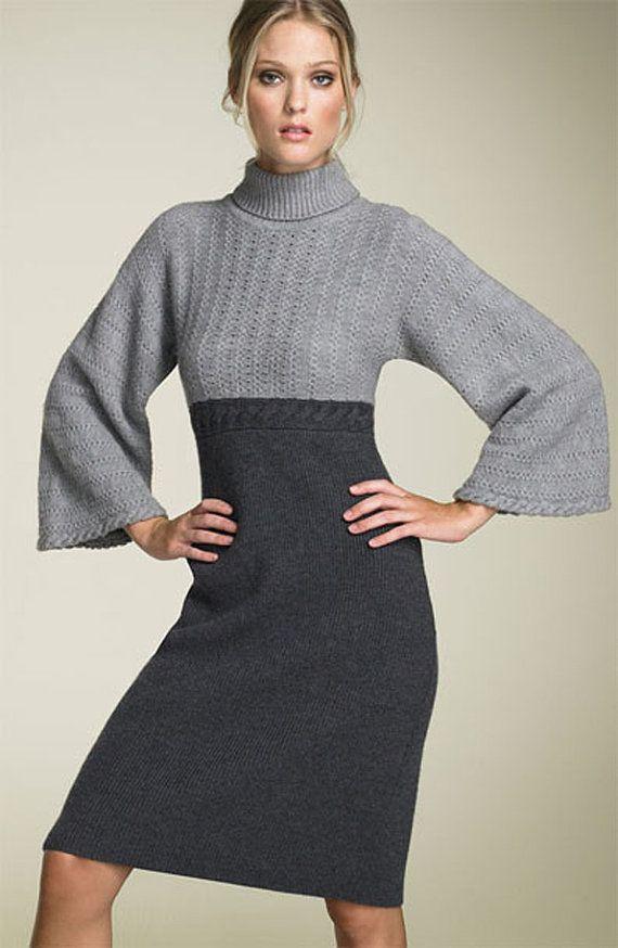 Hand knit two-toned dress, BANDofTAILORS, Etsy