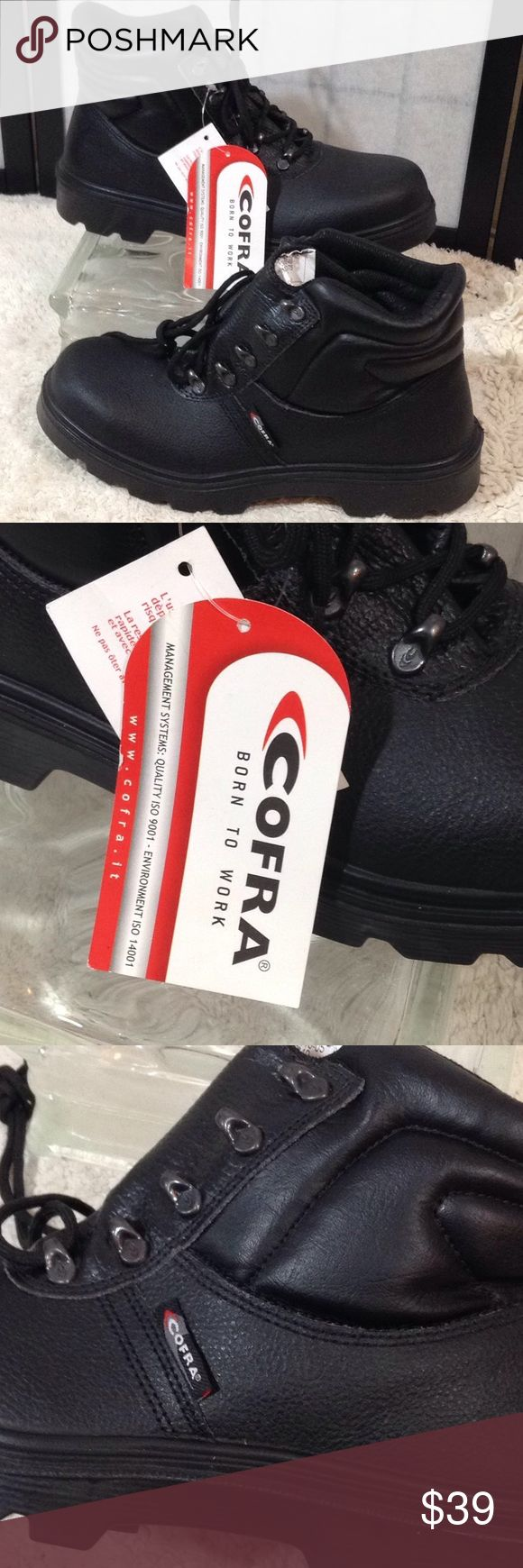 Cofra safety work boots Cofra black safety work boots; lace up front; oil resistant; Cofra - Born To Work; shoe comfort based on strength, durability, flexibility; NWT; size 10W/44.5 Cofra Shoes Boots