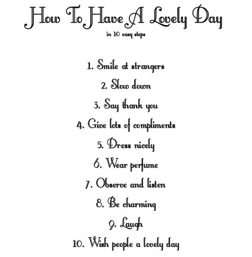 How to Have a Lovely Day