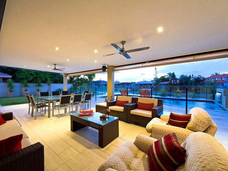 Indoor-outdoor outdoor living design with pool & decorative lighting using stone - Outdoor Living Photo 161515