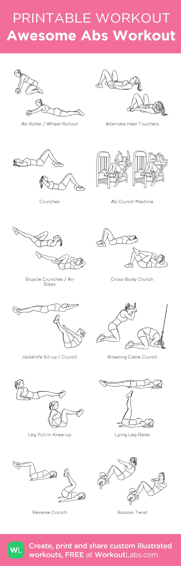 Awesome Abs Workout – my custom workout created at WorkoutLabs.com • Click through to download as printable PDF! #customworkout