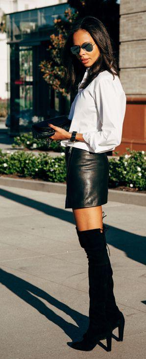 Resortrocksugar:  white Elliott shirt, AllSaints skirt, Chanel bag, Stuart Weitzman boots.