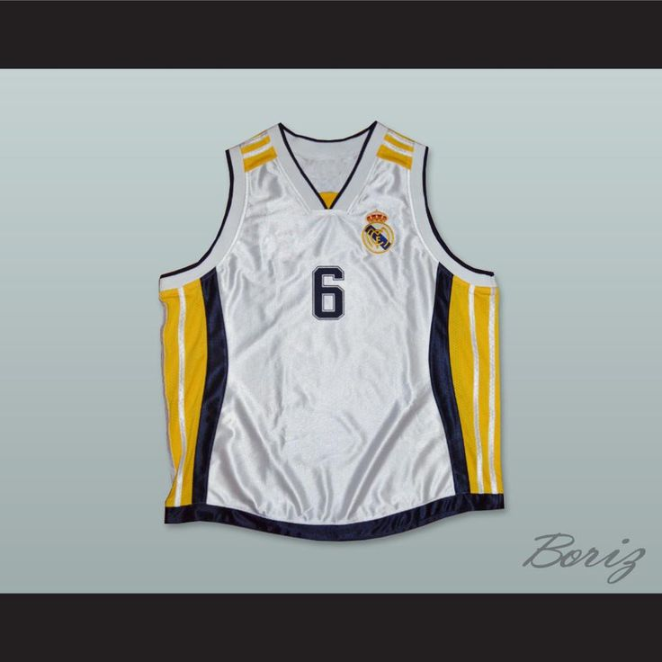 """Sasha Djordjevic 6 Real Madrid Basketball Jersey. STITCH SEWN GRAPHICS  CUSTOM BACK NAME CUSTOM BACK NUMBER ALL SIZES AVAILABLE SHIPPING TIME 3-5 WEEKS WITH ONLINE TRACKING NUMBER Be sure to compare your measurements with a jersey that already fits you. Please consider ordering a larger size, if you prefer a loose fit. HOW TO CALCULATE CHEST SIZE: Width of your Chest plus Width of your Back plus 4 to 6 inches to account for space for a loose fit. Example: 18"""" wide chest plus 18"""" wide back…"""