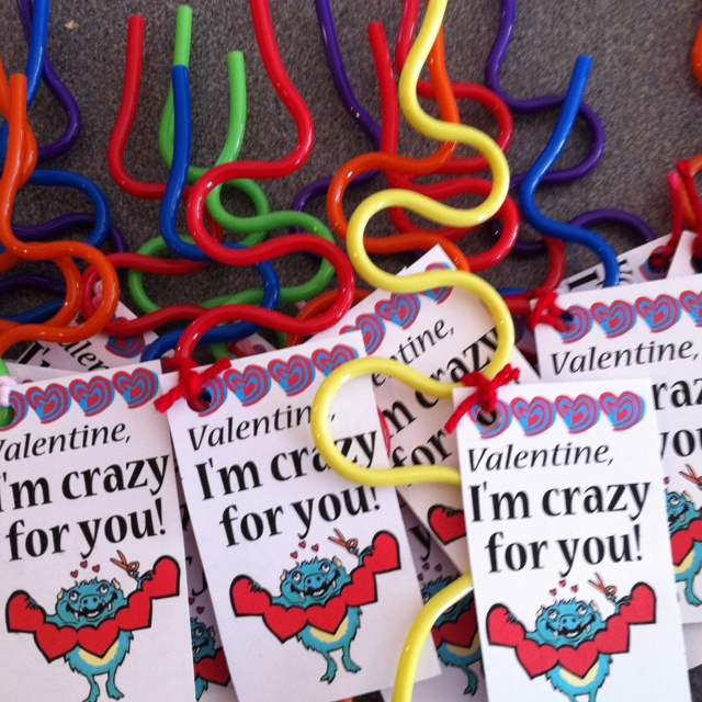 Valentine, I'm crazy for you.   Valentines with crazy straws - perfect for boys to give.