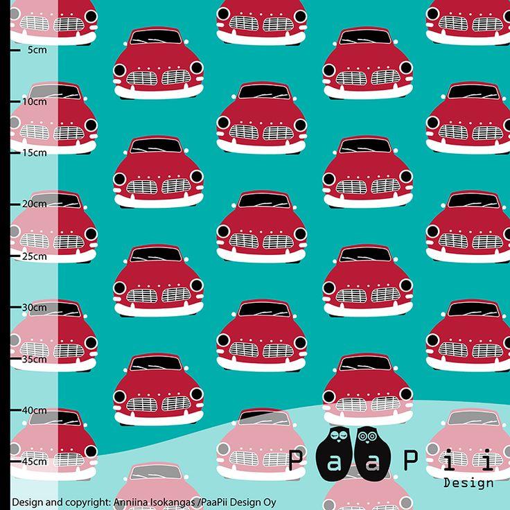 PaaPii Design - Vintage Cars organic jersey, turquoise-red