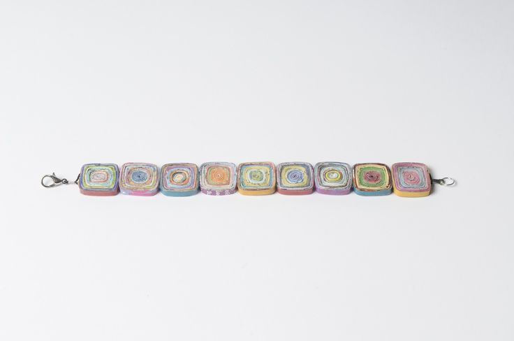 Rolled-paper squares bracelet (L)