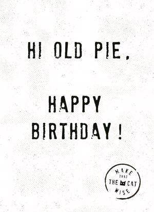 Hi old pie, happy birthday!  #Hallmark #HallmarkNL #makethathecatwise #wenskaart