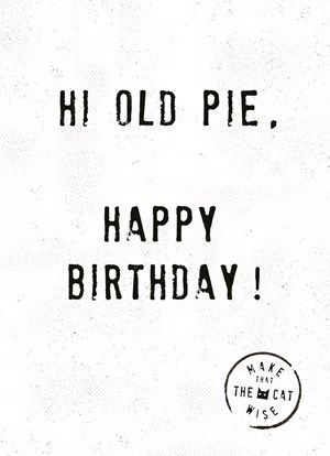 Hi old pie, happy birthday! #Hallmark #HallmarkNL #makethathecatwise #wenskaart