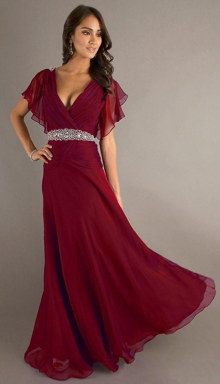 Modest Long Burgundy Formal Gown V Neckline Short Sleeve